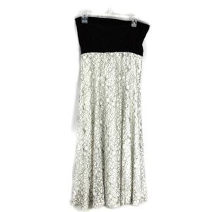 Solitaire Black & White Lace Overlay Maxi Skirt.